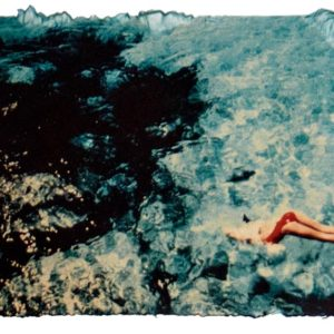Swim with red swimsuit